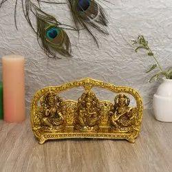 Aluminium Laxmi Ganesh Saraswati Statue with Velvet Box For Diwali Gift, Size: 13*22*8