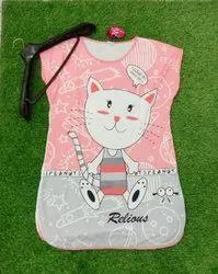 Pink Girls Sleeveless Printed Long Top