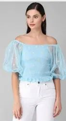 Casual Half Sleeves  Embroidered Women Light Blue Top