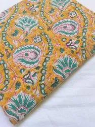 Yellow Pure Cotton Hand Block Fabric
