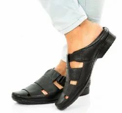 Leerooy Daily Wear Sandle101 Black, Size: 6-10