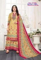 Pink Pakistani Lawn Cotton Suit, Size: Free