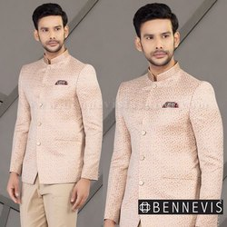 2-Piece Suit Wedding Pink Colored Floral Jacquard Mens Bandhgala