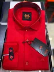 Full Sleeves Satin Mens Plain Red Party Wear Shirt, Size: Large