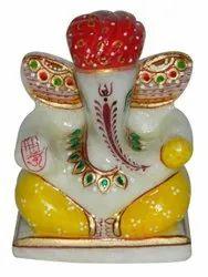 Marble ganesh wearing red turban 4 inch