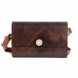 brown Wooden Purse Clutch party wear, Size: 25x7x16cm