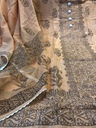 Block Print Beige Ladies Khadi Cotton Dress Material