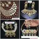 Beaded Stone Kundan Necklace And Earring Jewellery Set For Women And Girl Bijoux