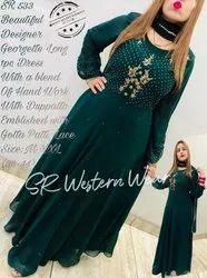 Ladies Designer Dress With Blend Hand Work