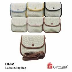 White Leather Ladies Sling Bags