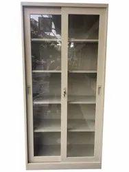 Polished Cream Glass Door Cabinet, 2