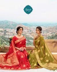 Ladies Designer Fancy Jacquard  Silk Saree