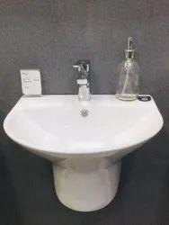 Ceramic Wall Mounted Pedestal Wash Basin, For Bathroom