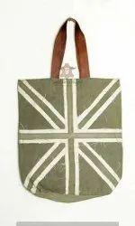 Leather Green Ladies Striped Handbag, Size: 10x4 Inch