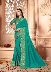Party Wear Zari Work Border Sea Green Vichithra Silk Saree, 6.3 M ( With Blouse Piece)