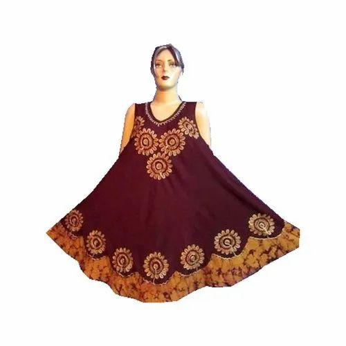 Embroidered Batik umbrella dress with cap sleeve