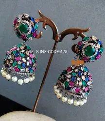 Diamond Multicolor New Fashionable Oxidise Polish Earring