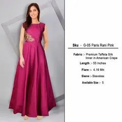 Festive Wear Embroidered Women Paris Rani Pink Evening Long Gown, Size: Small