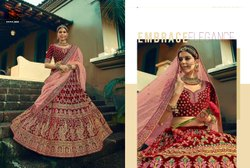 Sangria Red Bridal Velvet Lehenga Choli With Embroidery & Hand Work