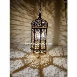 Cool White Mild Steel Oriental Brass Arabian Moroccan Lamps Ceiling Light