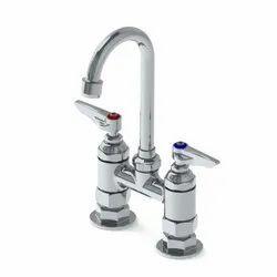 Double Pantry Faucet, Deck Mount, 4 Centers, 5-11/16 Wide Swivel Gooseneck