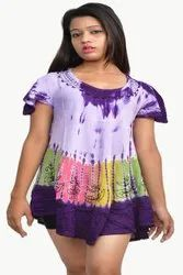 Purple Ladies Short Sleeve Tie Dye Top