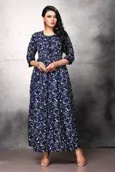 Printed Ladies Navy Blue Poly Crepe Long Dress