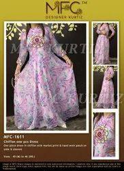 Multicolor Chiffone One Piece Dress