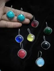 Coral, Opalite, Turquoise, Green onyx Handmade Silver Plated Women Earrings