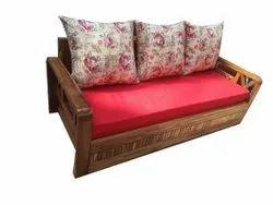 Red Shanil Fabric Three Seater Teak Wood Sofa, 7 Inch
