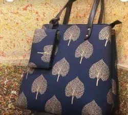 Blue Color Designer Cotton Bag For Ladies