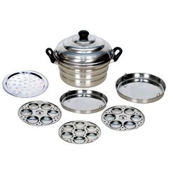 Silver Stainless Steel Sai Multi Cooker 19 Idli Pot, For Home