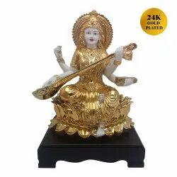 24 K Gold Plated Hindu Goddess  Maa Sarswati Sculpture
