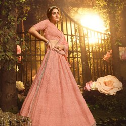 Coral Pink Georgette Lehenga Choli With Thread, Dori, Sequin And Gota Work