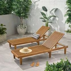 Outdoor Adjustable Wood Chaise Lounge