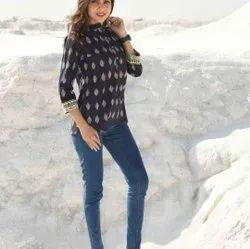 Black Color Designer Cotton Top For Women