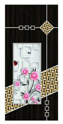 Black Wooden Floral Print Door Skin, Glossy