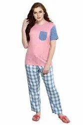 Cotton Plain Women Pajama Sets