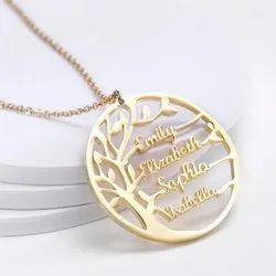 Custom Name Pendant Necklace Tree Style