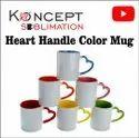Heart Handle Color Mugs Sublimation