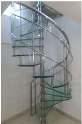 Silver Stainless Steel Spiral Staircase