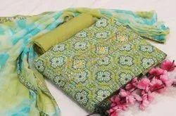 Green Color Designer Cotton Suit For Ladies