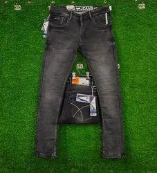 Regular Fit Casual Wear Mens Black Faded Jeans