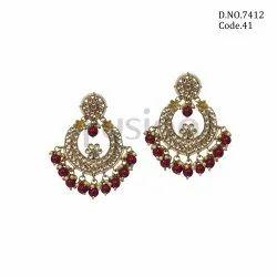Fusion Arts Kundan Chandbali Brass Earrings