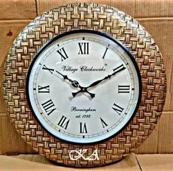 Antique Look Brass And Wooden Wall Clock, For Office, Size: Diameter: 18 Inches