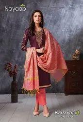 Jam Satin Magenta Ladies Ethnic Wear