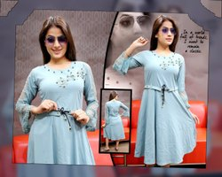 Cotton Ladies Plain Blue Midi Dress