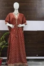 Red Printed Cotton Nighty Fabric