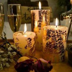 Gold Dust Pillar Candles Gift Set