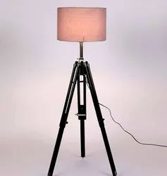 Dome Halogen Aglow Light Grey Fabric Shade Tripod Floor Lamp With Black Base, For LED